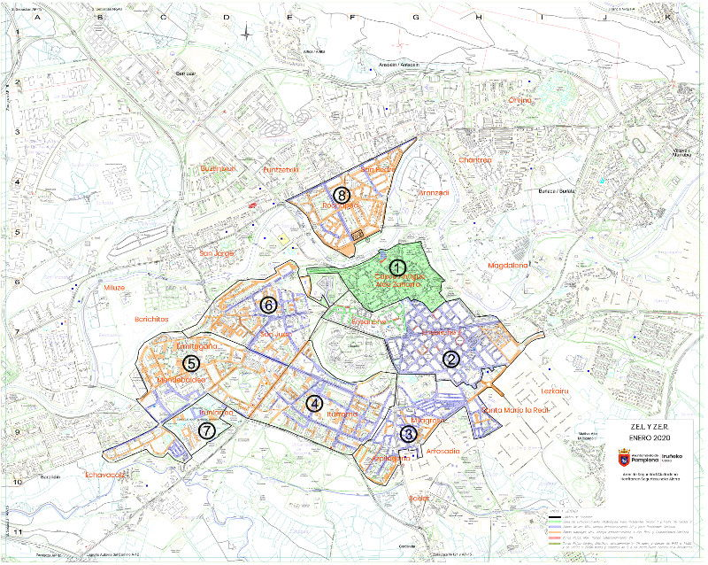 Mapa plano zona azul Pamplona