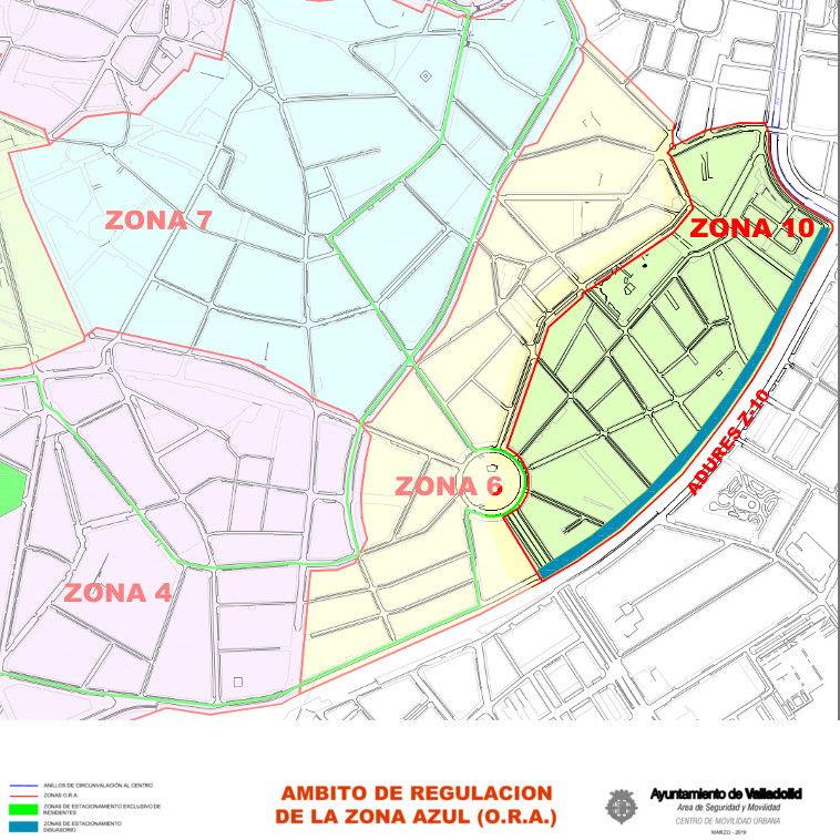 Mapa zona azul Valladolid plano zona 1