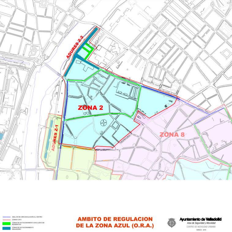 Mapa zona azul Valladolid plano zona 2