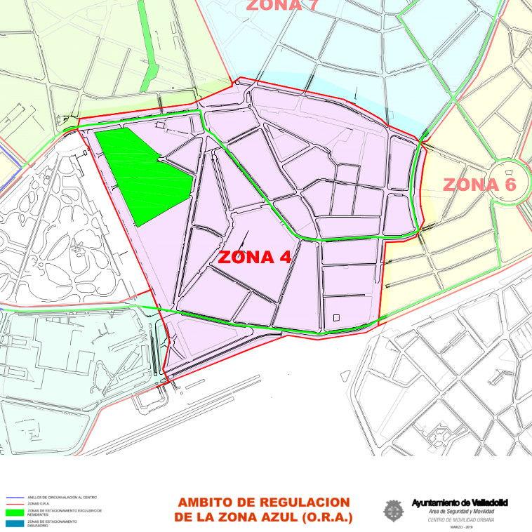 Mapa zona azul Valladolid plano zona 4