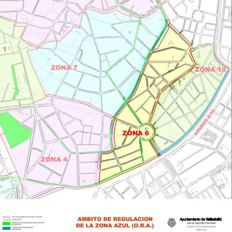 Mapa zona azul Valladolid plano zona 6