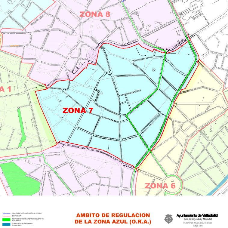 Mapa zona azul Valladolid plano zona 7