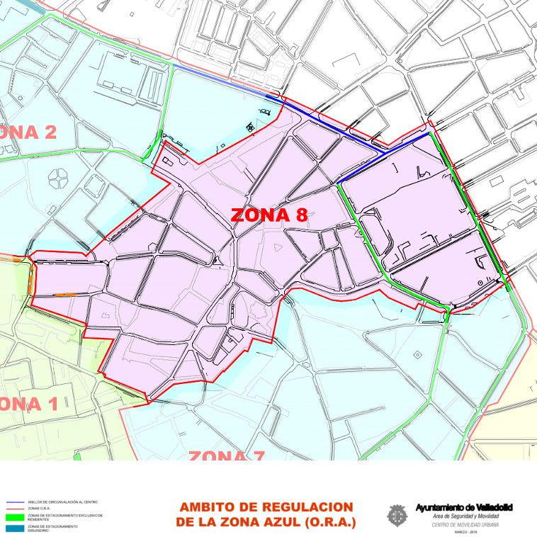 Mapa zona azul Valladolid plano zona 8