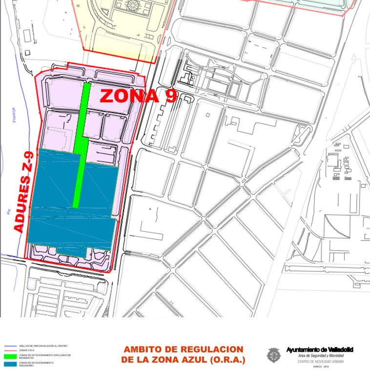 Mapa zona azul Valladolid plano zona 9