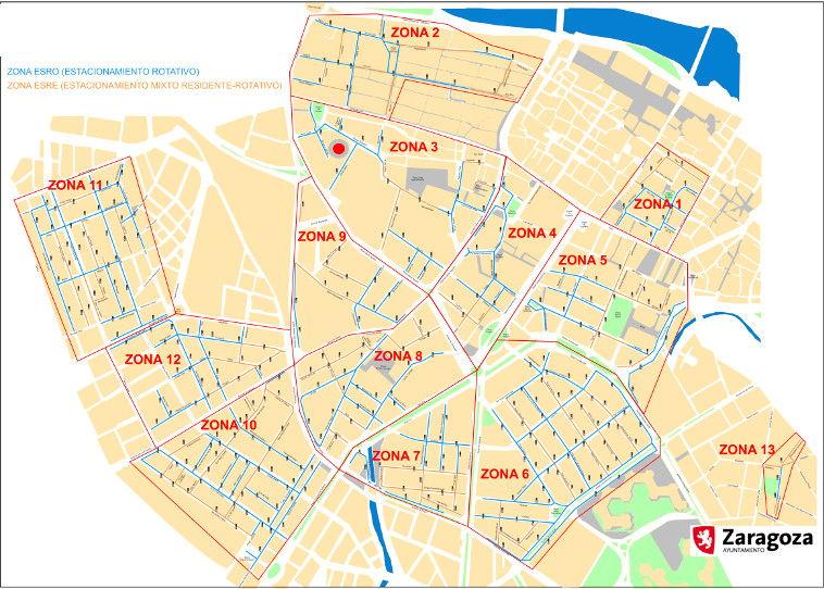 Mapa zona azul Zaragoza general