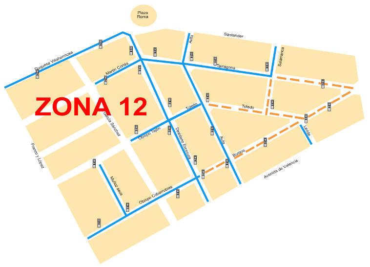 Mapa zona azul Zaragoza Zona 12
