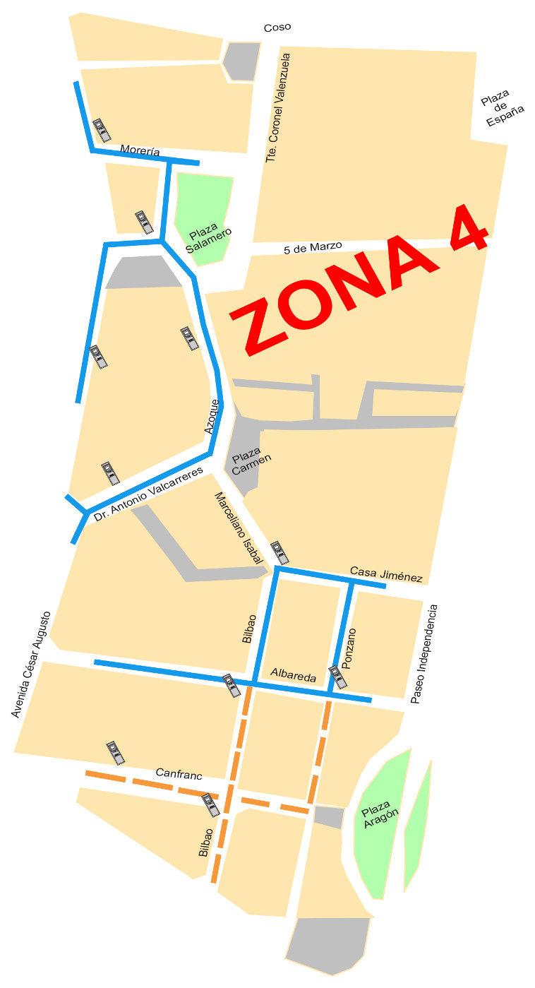 Mapa zona azul Zaragoza Zona 4