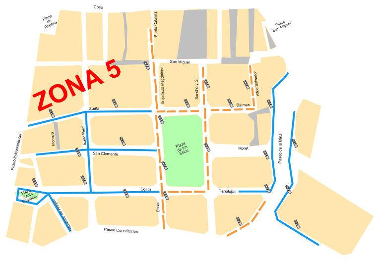 Mapa zona azul Zaragoza Zona 5