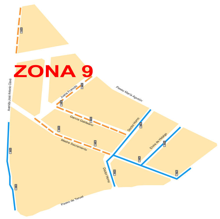 Mapa zona azul Zaragoza Zona 9