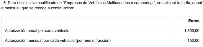 Tarifas zona azul vehículos comerciales Madrid