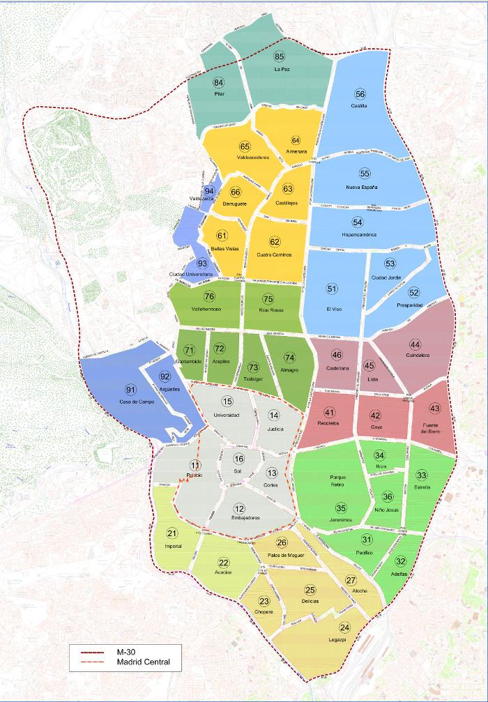 Mapa zona azul madrid
