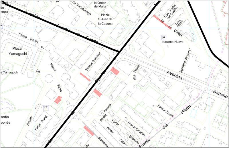 Mapa zona azul, verde y naranja Pamplona Avenida Pío XII