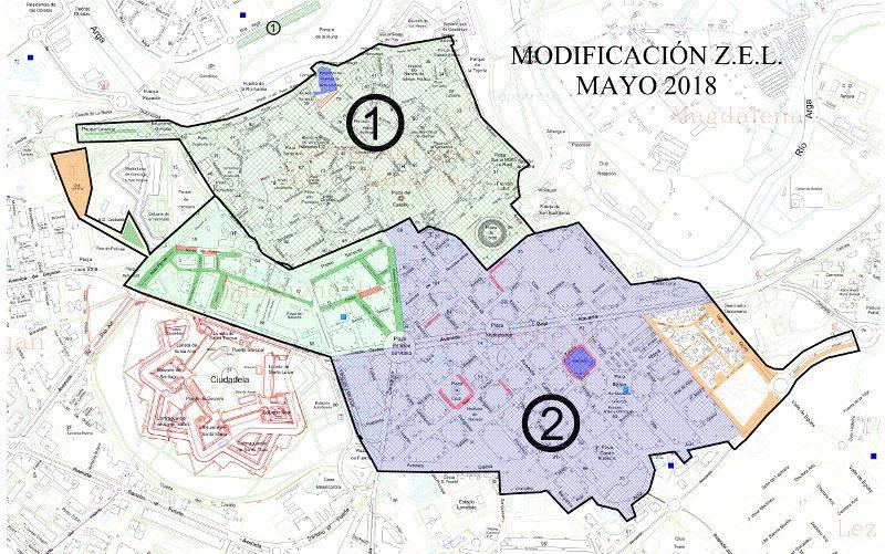 Mapa zona azul Pamplona sectores 1 y 2 Casco Antiguo y Ensanche