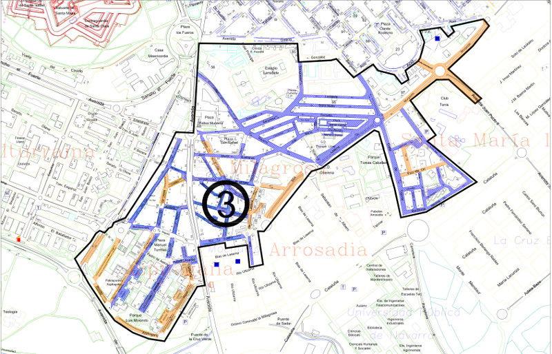 Mapa zona azul Pamplona distrito 3 Azpilañaga y Milagrosa