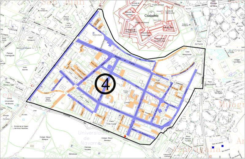 Mapa zona azul Pamplona distrito 4 Iturrama
