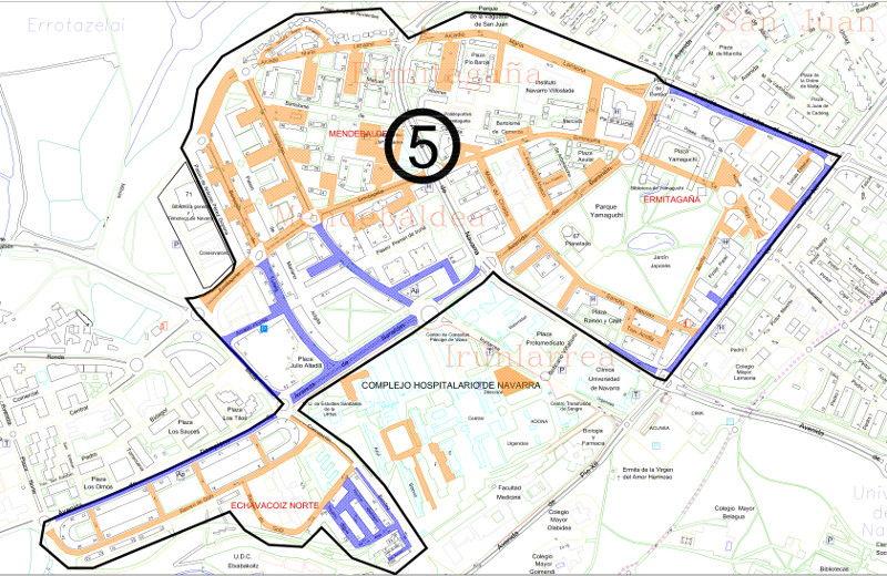Mapa zona azul Pamplona distrito 5 Echavacoiz, Ermitagaña y Mendebaldea