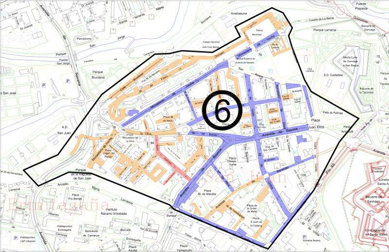 Mapa zona azul Pamplona distrito 6 San Juan