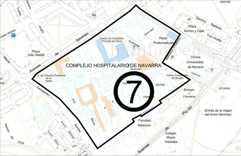 Mapa zona azul Pamplona distrito 7 Complejo hospitalario
