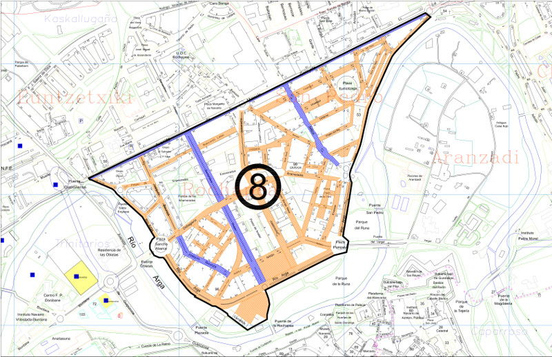 Mapa zona azul Pamplona distrito 8 Rochapea